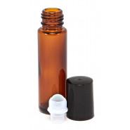 Mini roller verre ambré bouchon noir 10ml